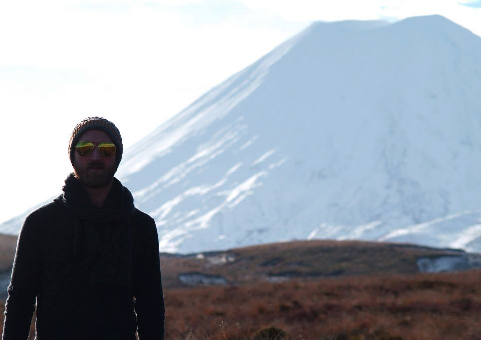 Ronnie at the base of Mount Tongariro in New Zealand