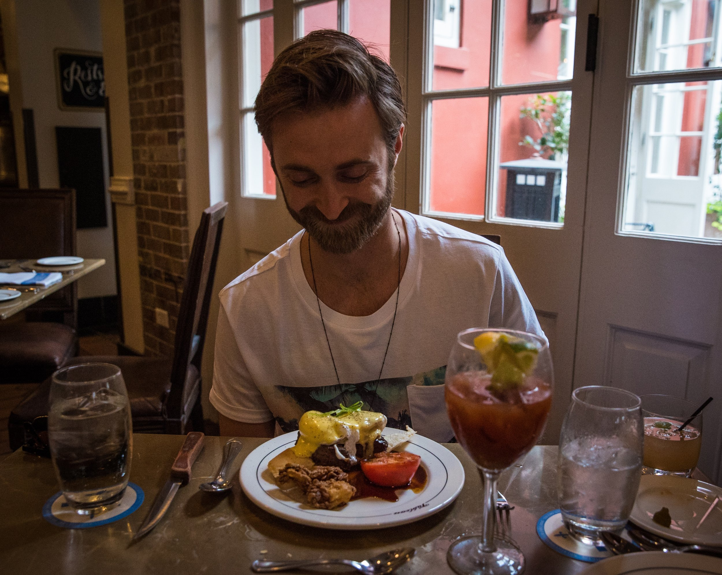 Ronnie was pretty happy when his food arrived: Steak and Eggs, with mouth-watering Fried Oysters!