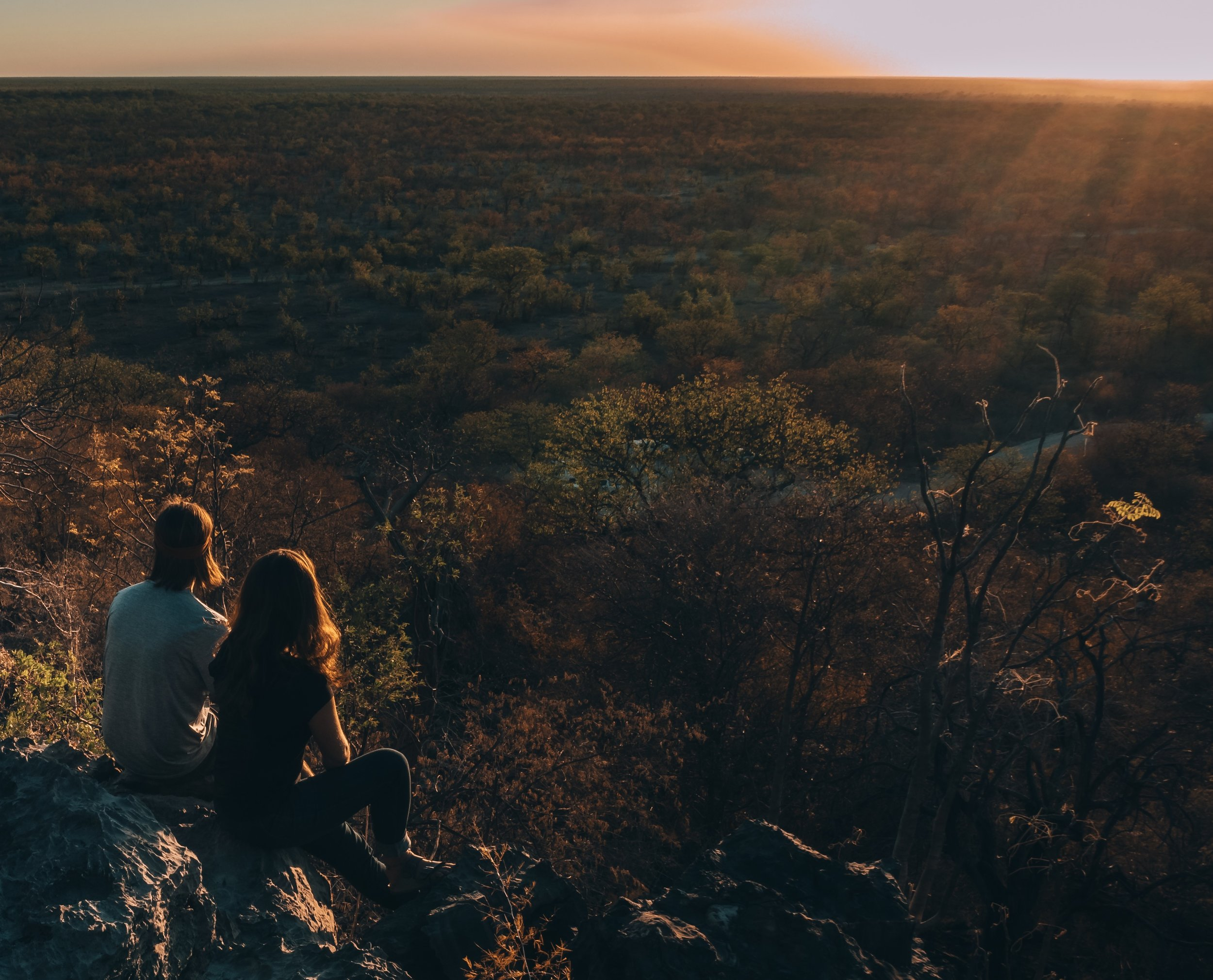 Watching sunset from the hill at Halali camp, Etosha