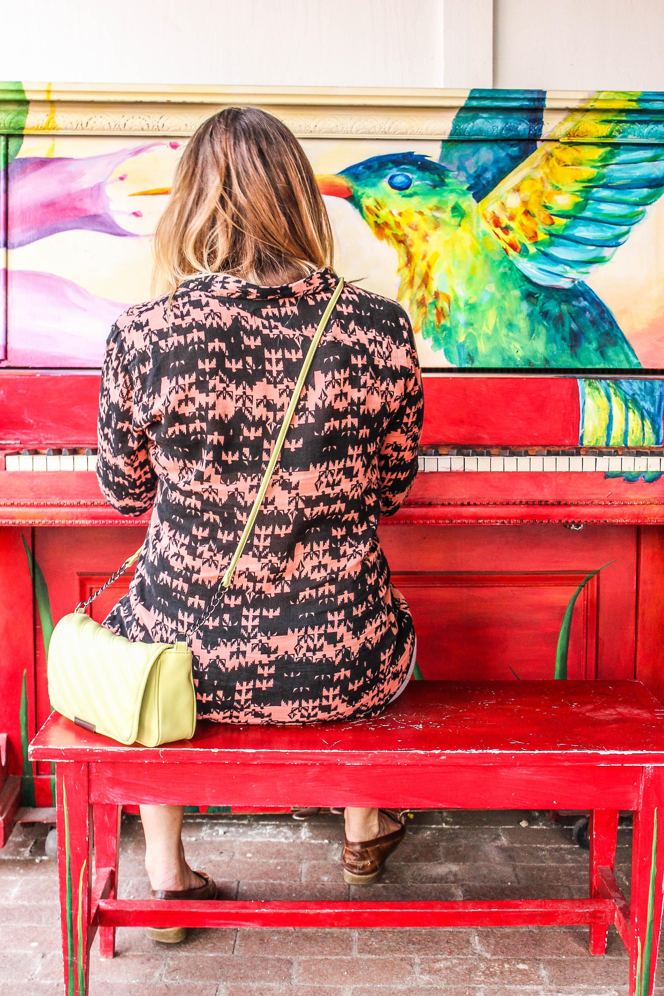 Kira at the Piano: edited using the JamesB 'vacation snapshot enhancer- strong'