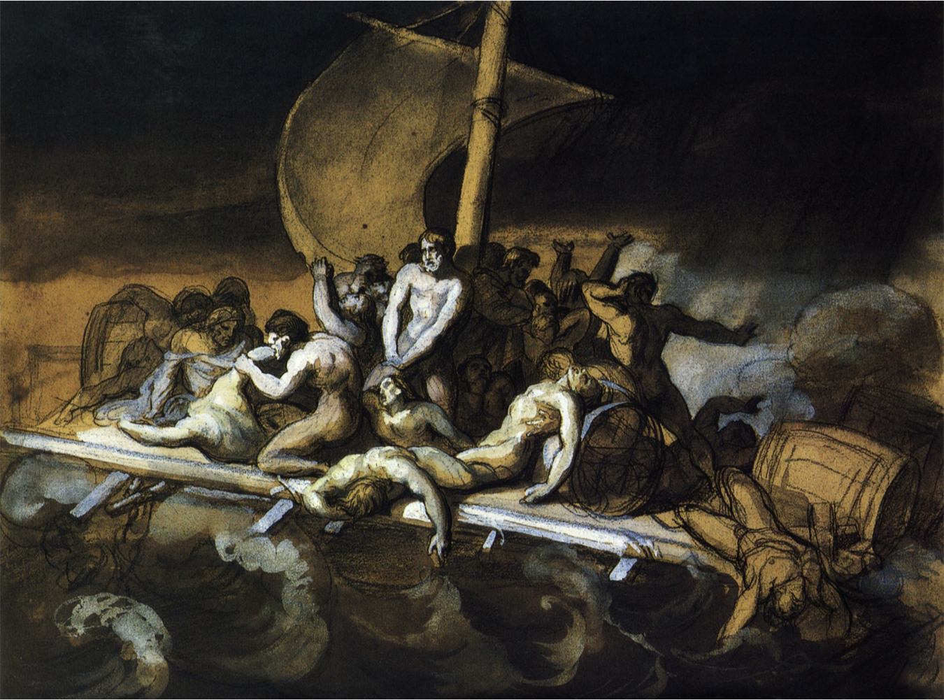 one of the many preparatory drawings done for the raft of the medusa. géricault basically drew out every scene of the incident before deciding on the sighting of the argus. this drawing is titled cannibalism.
