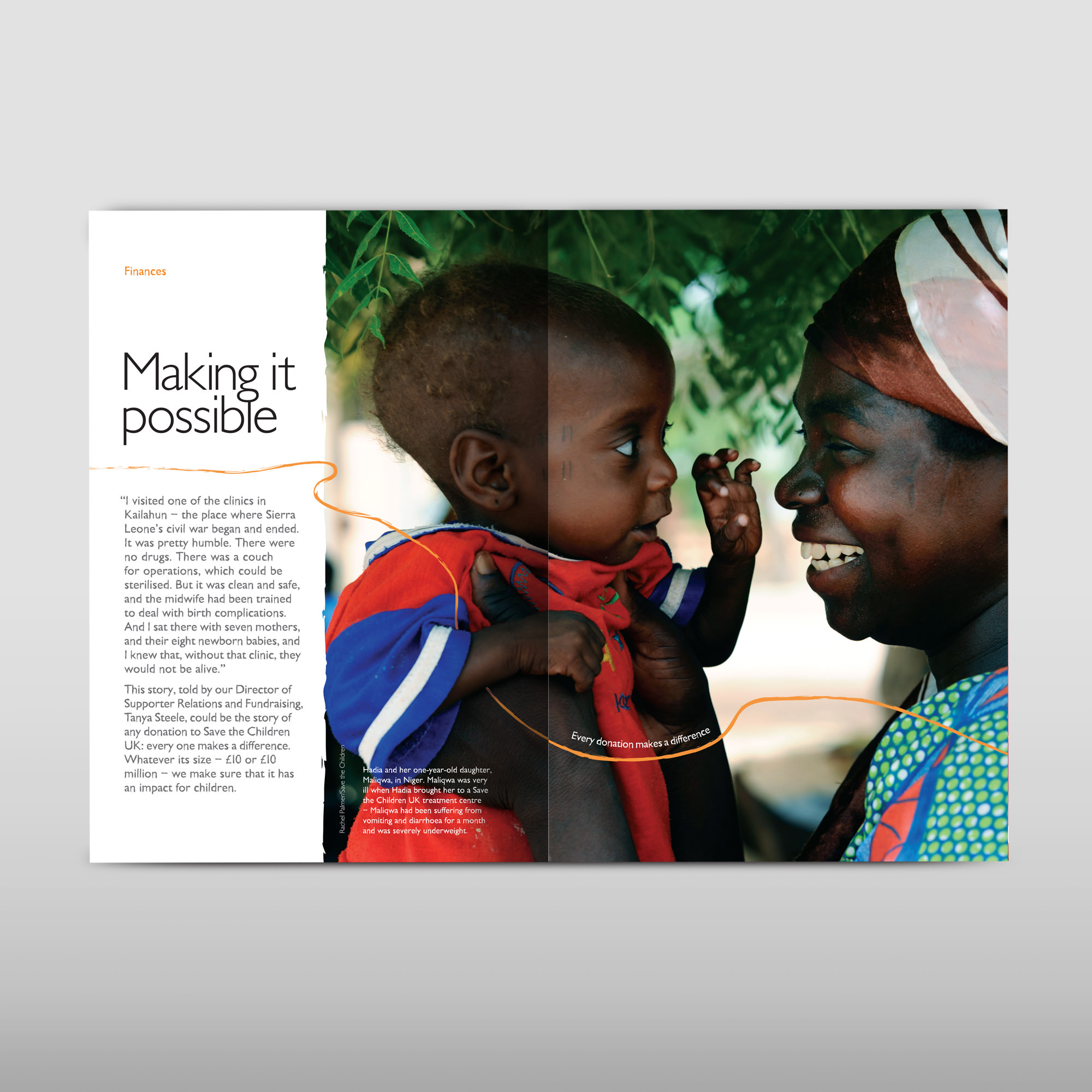 Annual report design, double page spread