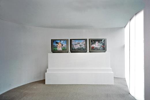 The Garden Of Earthly Delights, 1991, 3 channel video, at APJ Gallery, Delhi 2005
