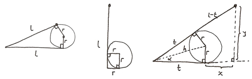 The pencil rolling on a cylinder. The tip tracing a curve is marked.