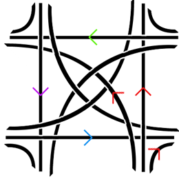 My highway interchange: the red arrows show the paths that drivers going in a particular direction could take.  Note that at most two lanes intersect at a point which makes it conceivable to build the interchange with two levels only; in the diagram the broken lane is below the other