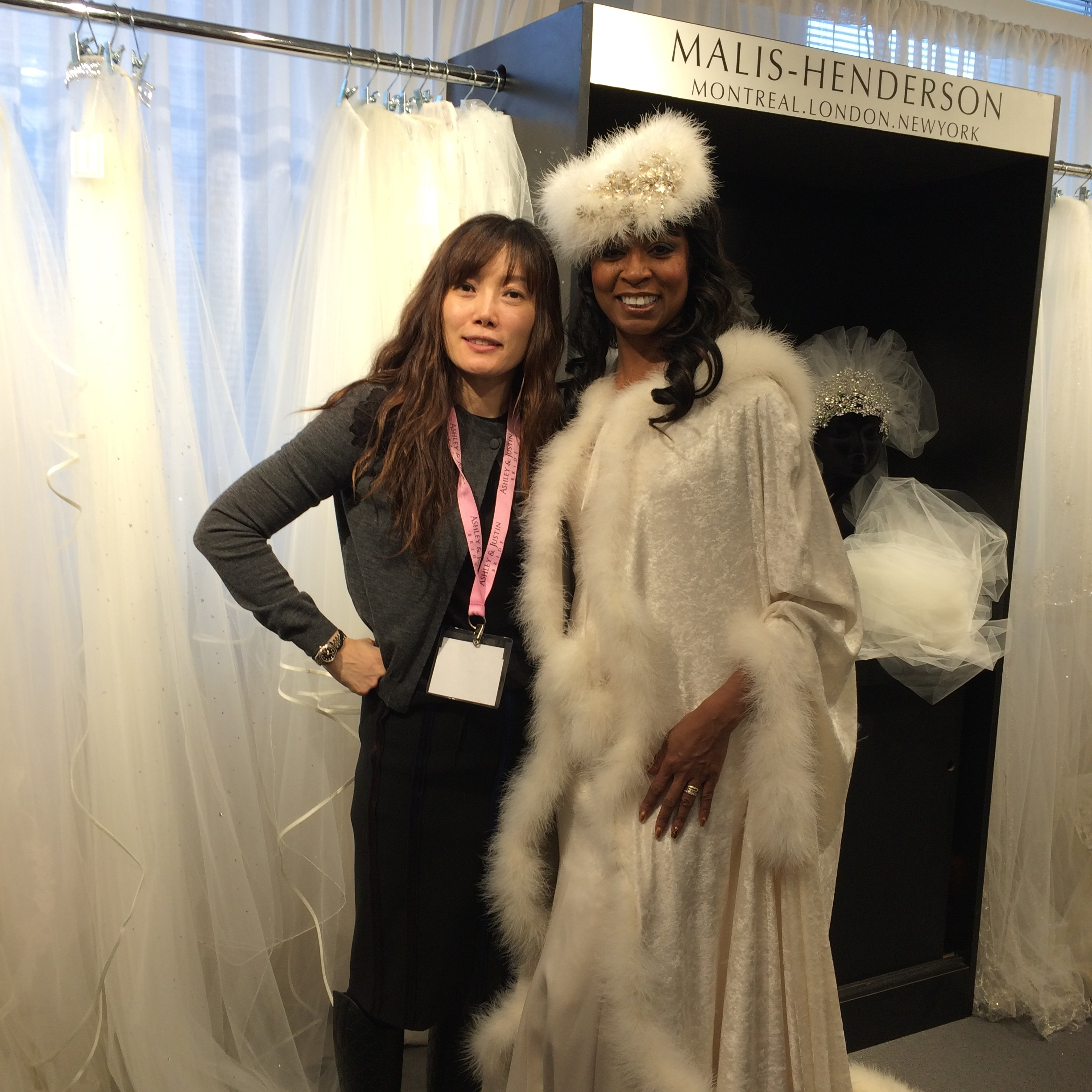 Jaehee (L) of Jaehee Bridal in Englewood NJ with model Tanya.