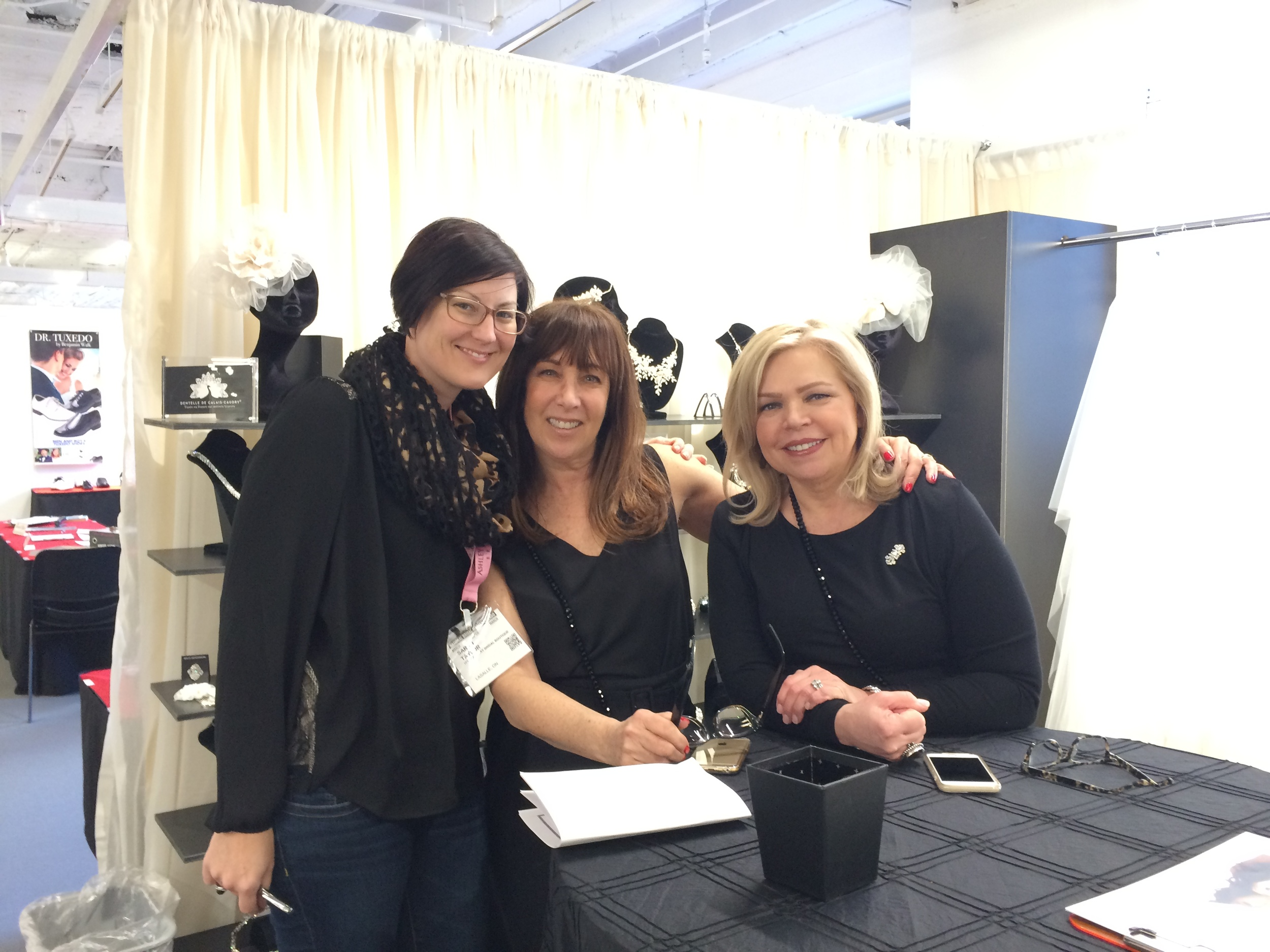 Sarah (L) from It's Your Day Bridal in Windsor ON never misses a visit to Chicago to see Elen and Vela.