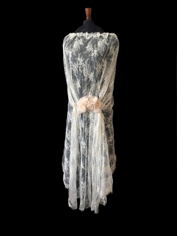 Style LC-D French Alençon Lace Cape - Back