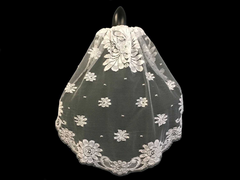 "Style V5723-DI __ 16""x22""Short French Chantilly Lace Mantilla Veil"