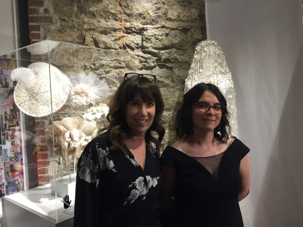 Elen with Caroline Thérien who looks after Education and Research for the  Montreal Fashion Museum .