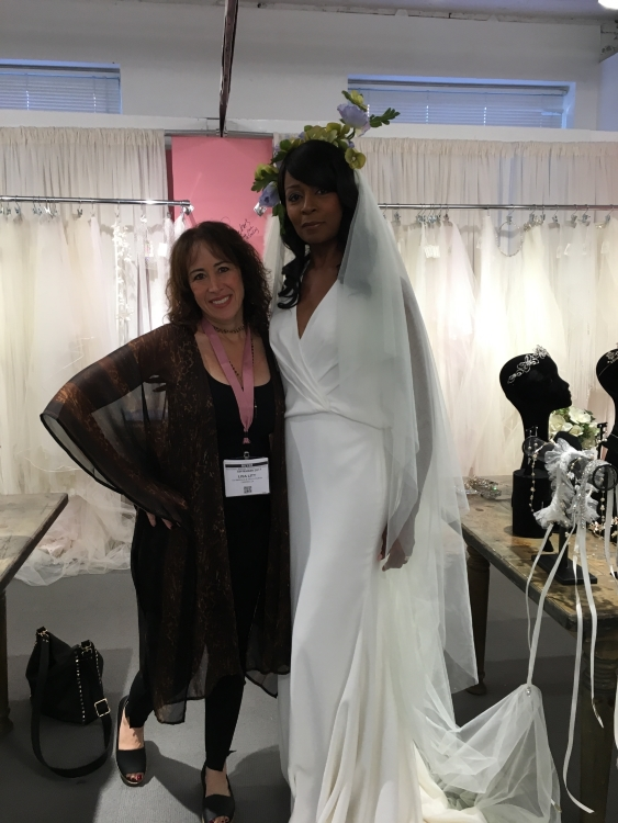 Lisa on left from  Lili Bridals & Formals  in Tarzana California posing with our model Tanya.