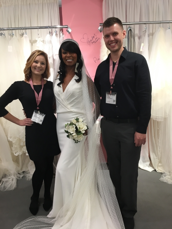 In this beautiful pic, Tanya is surrounded by Leah and Derek from  Becker's Bridal  in Fowler, Michigan