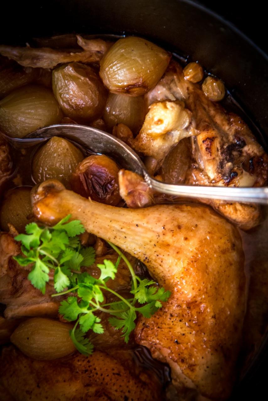 курица под уксусом и с луковичками