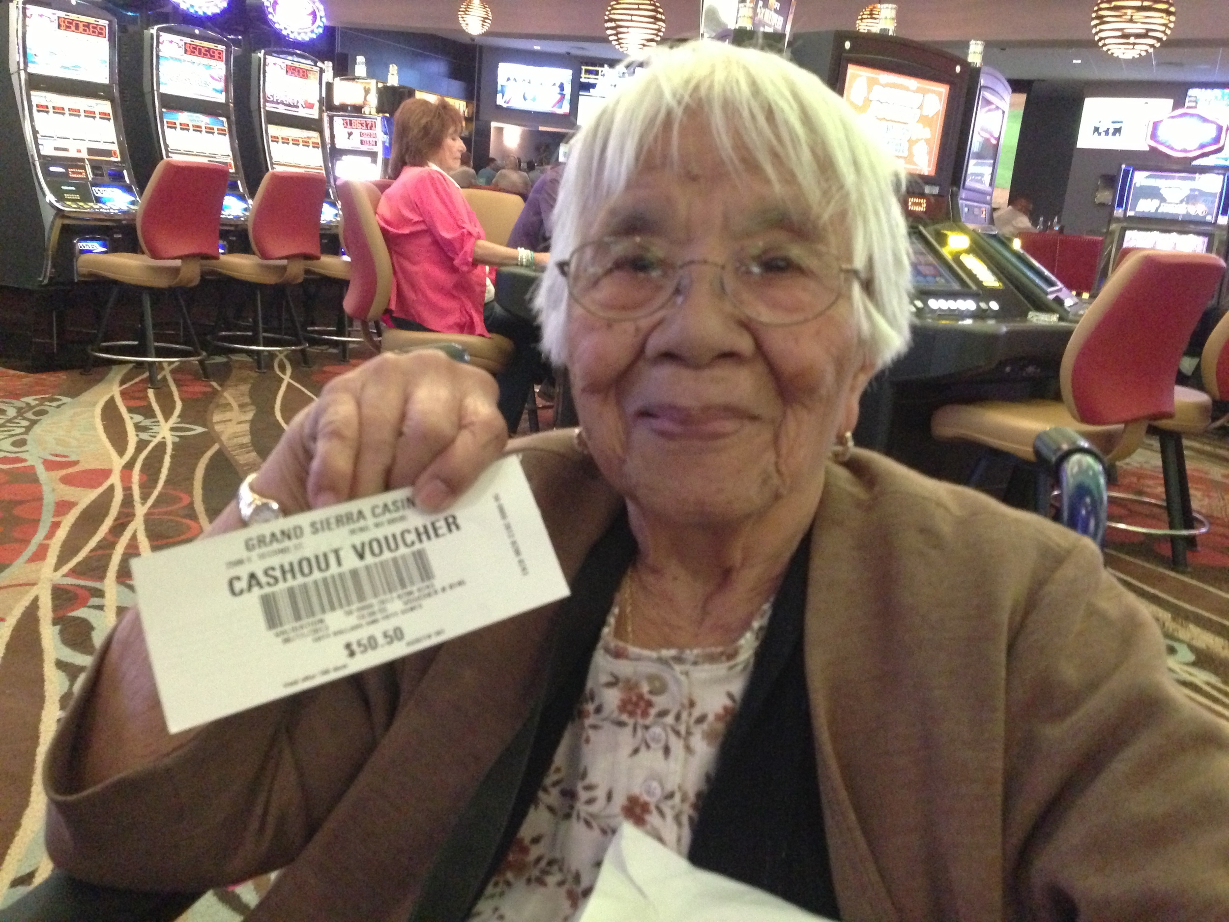 Grandma Suero winning the BIG bucks in Reno!