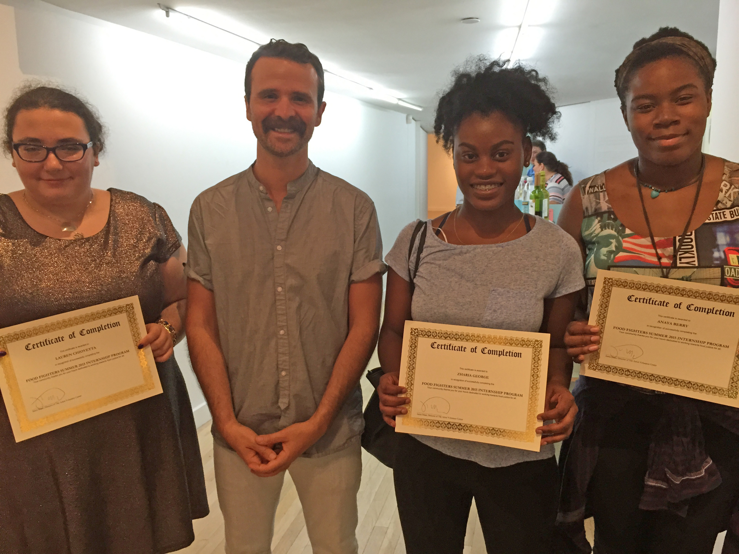 It's official! FOOD FIGHTERS pose with their certificates along with AVC Founder & Director Jason Maas