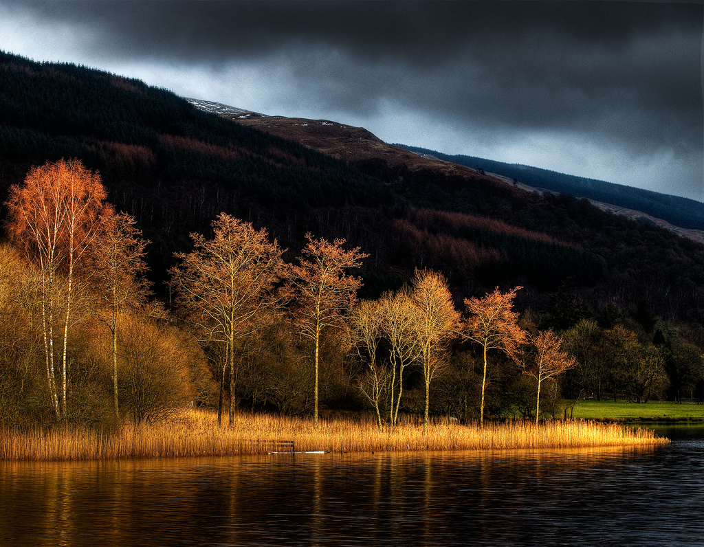 Winter light from the west end og Loch Ard
