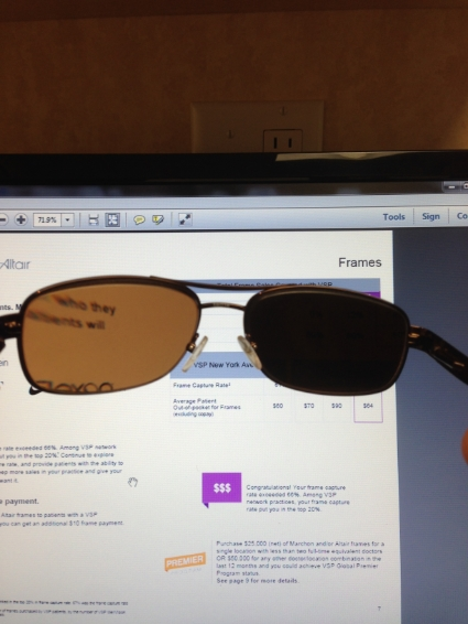 One of these polarized lenses was edged at 90 degrees off and gave glare and headaches to the wearer.
