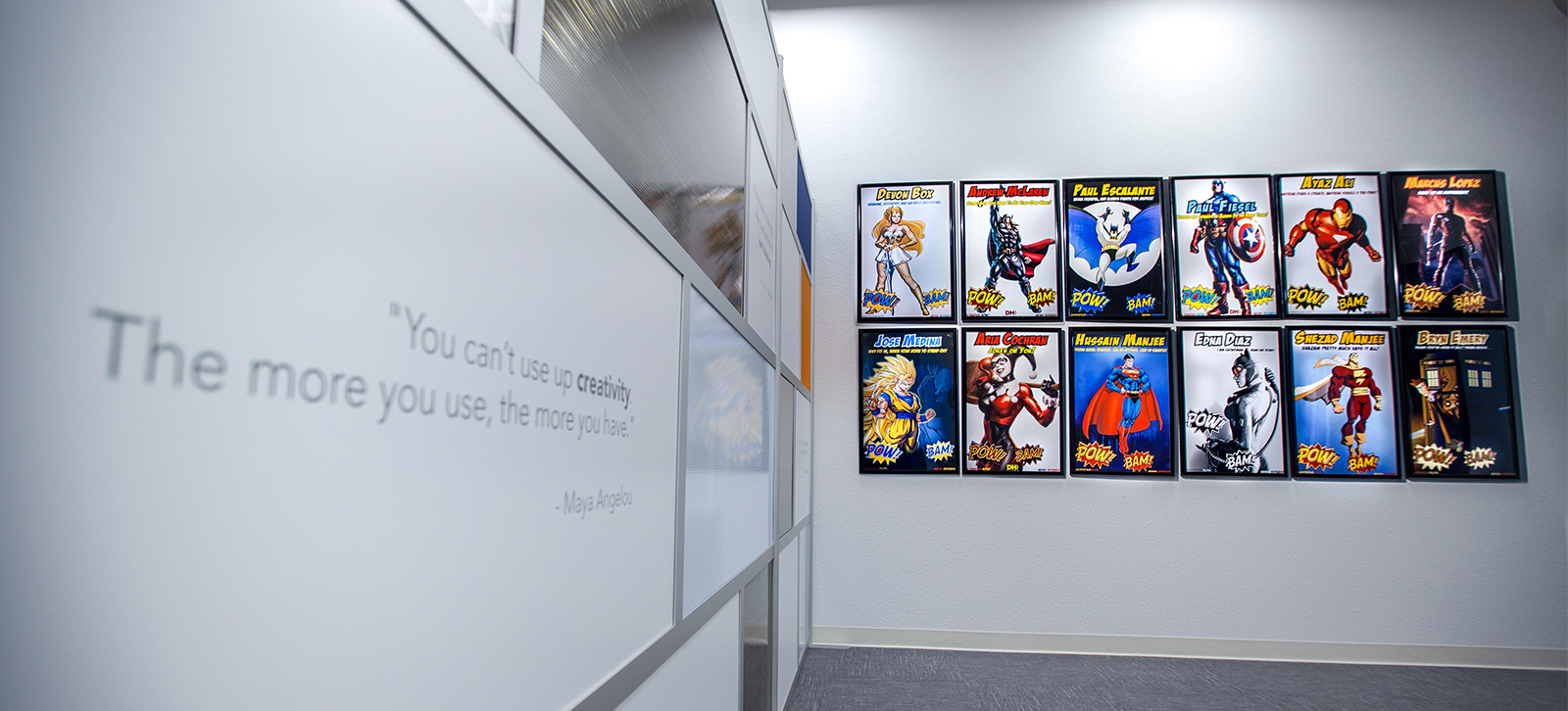 The Superhero Wall at DHD Films office