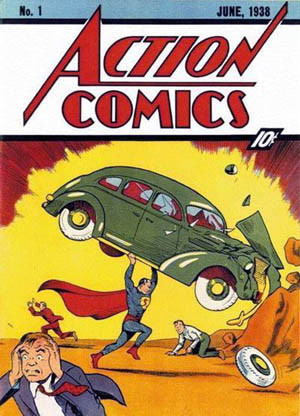 Cover of Action Comics 1 (Jun 1938 DC Comics). Art by Joe Shuster, art, and Jack Adler, color
