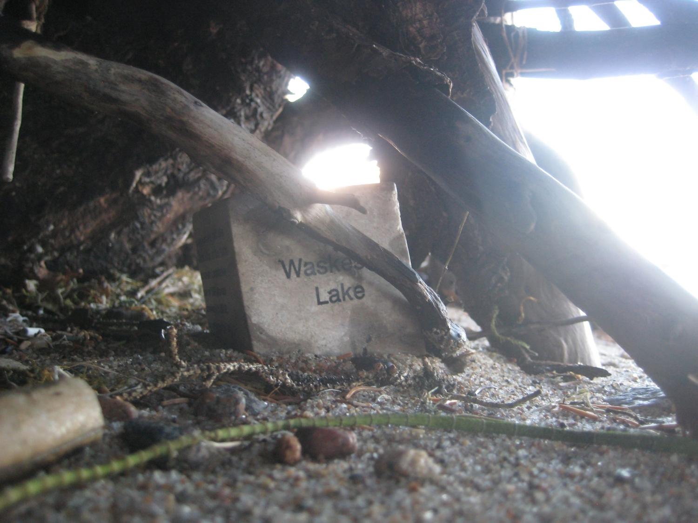 "Hidden Tyndall | Waskesiu Lake by Terri Fidelak, 2012, engraved tyndall stone, 2""x2""x2"""