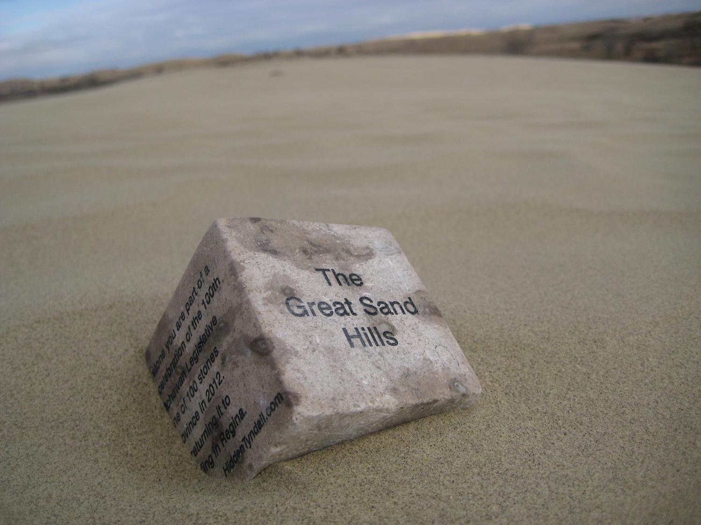"Hidden Tyndall | The Great Sand Hills by Terri Fidelak, 2012, engraved tyndall stone, 2""x2""x2"""