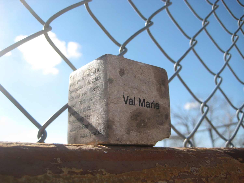 "Hidden Tyndall | Val Marie by Terri Fidelak, 2012, engraved tyndall stone, 2""x2""x2"""
