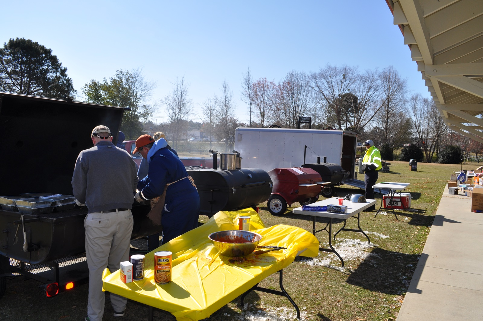 2017-0316 BBQ (Lions Mark, Davis, Mitch) - Four Grills Working Along.JPG
