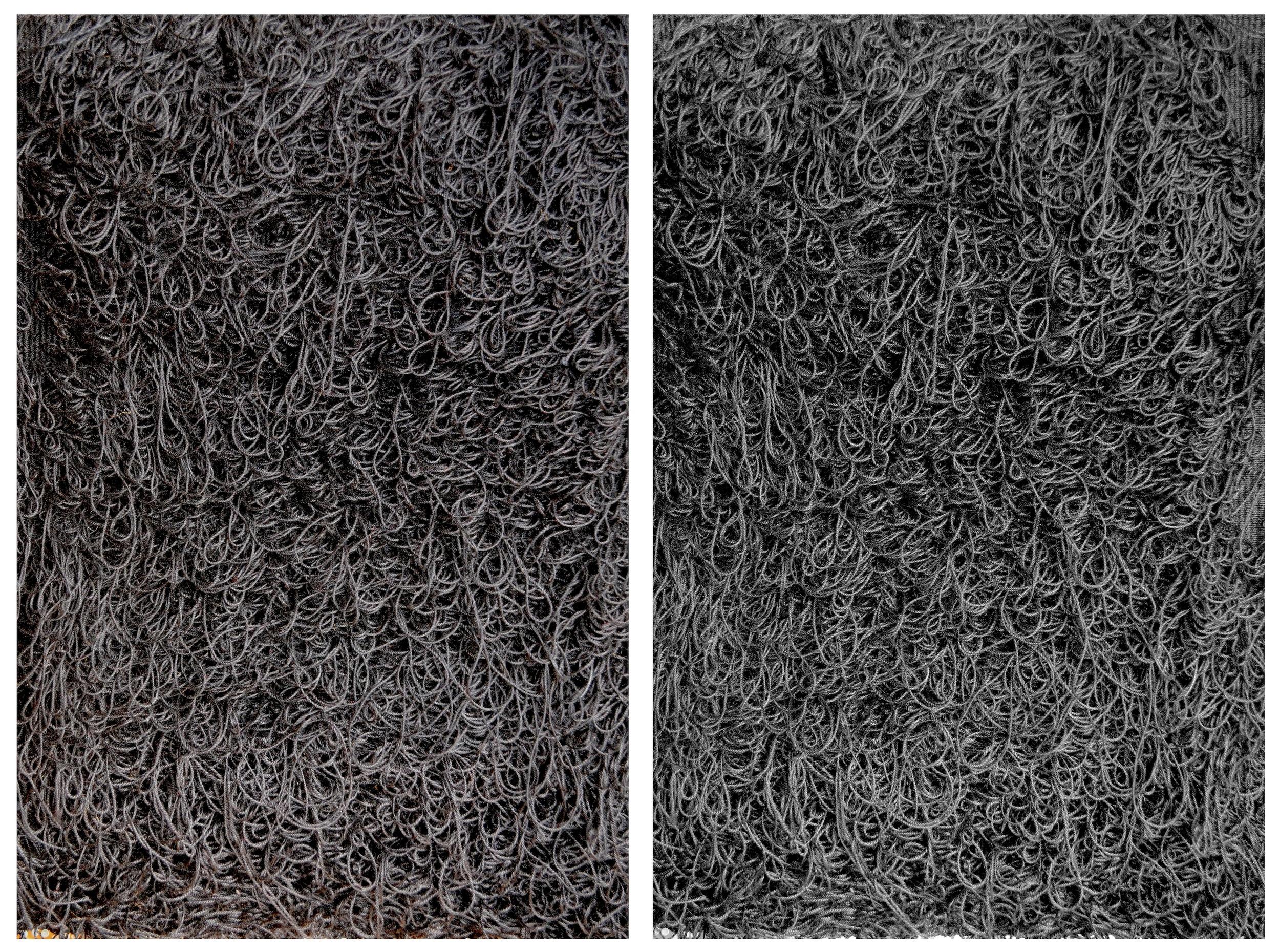 Crochet thread, wood frame, nails