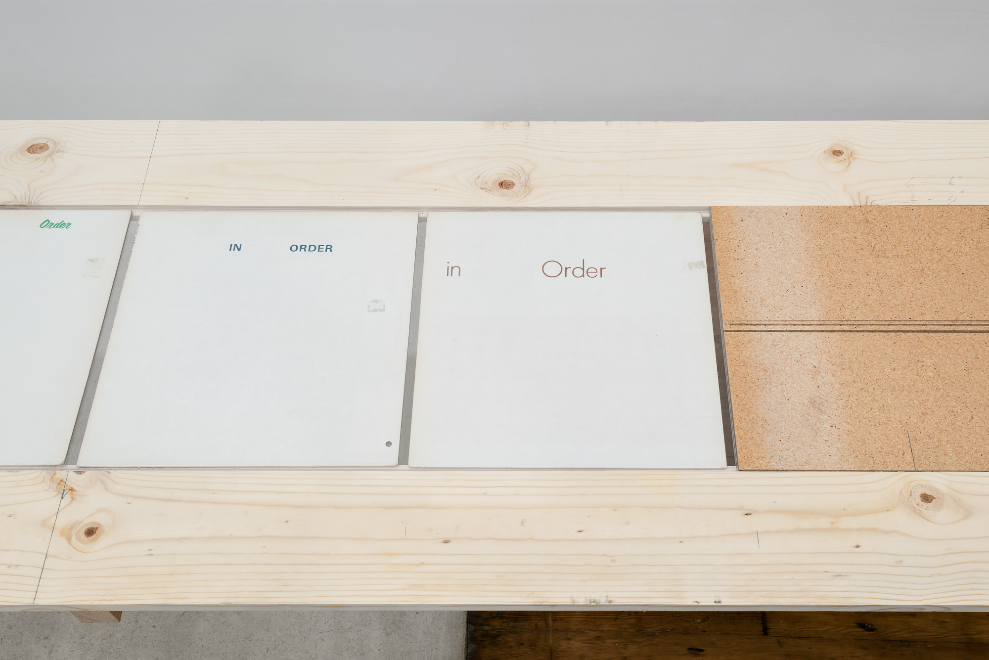 In Order  Erased record covers table/vitrine