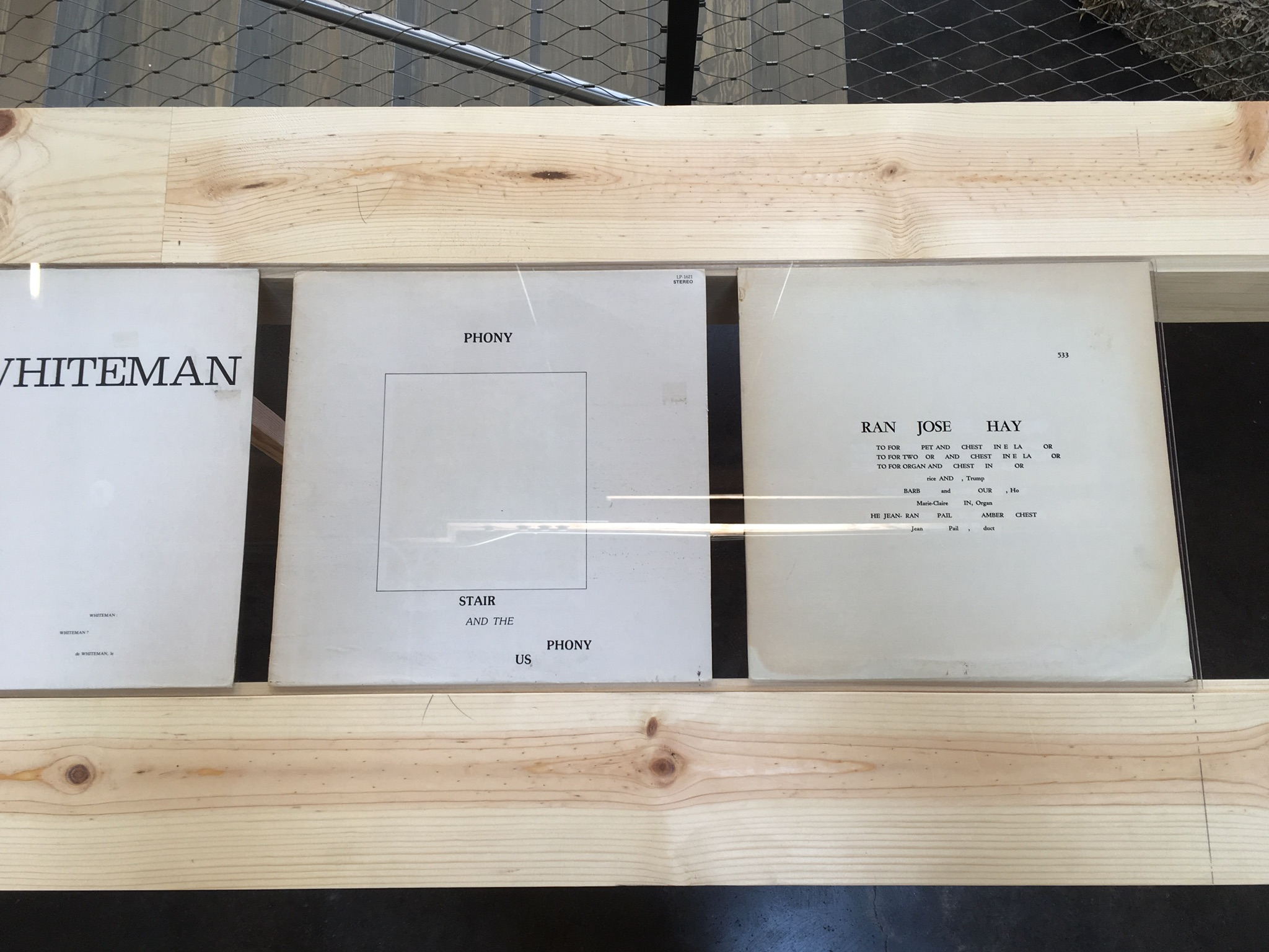 Erased record covers table/vitrine
