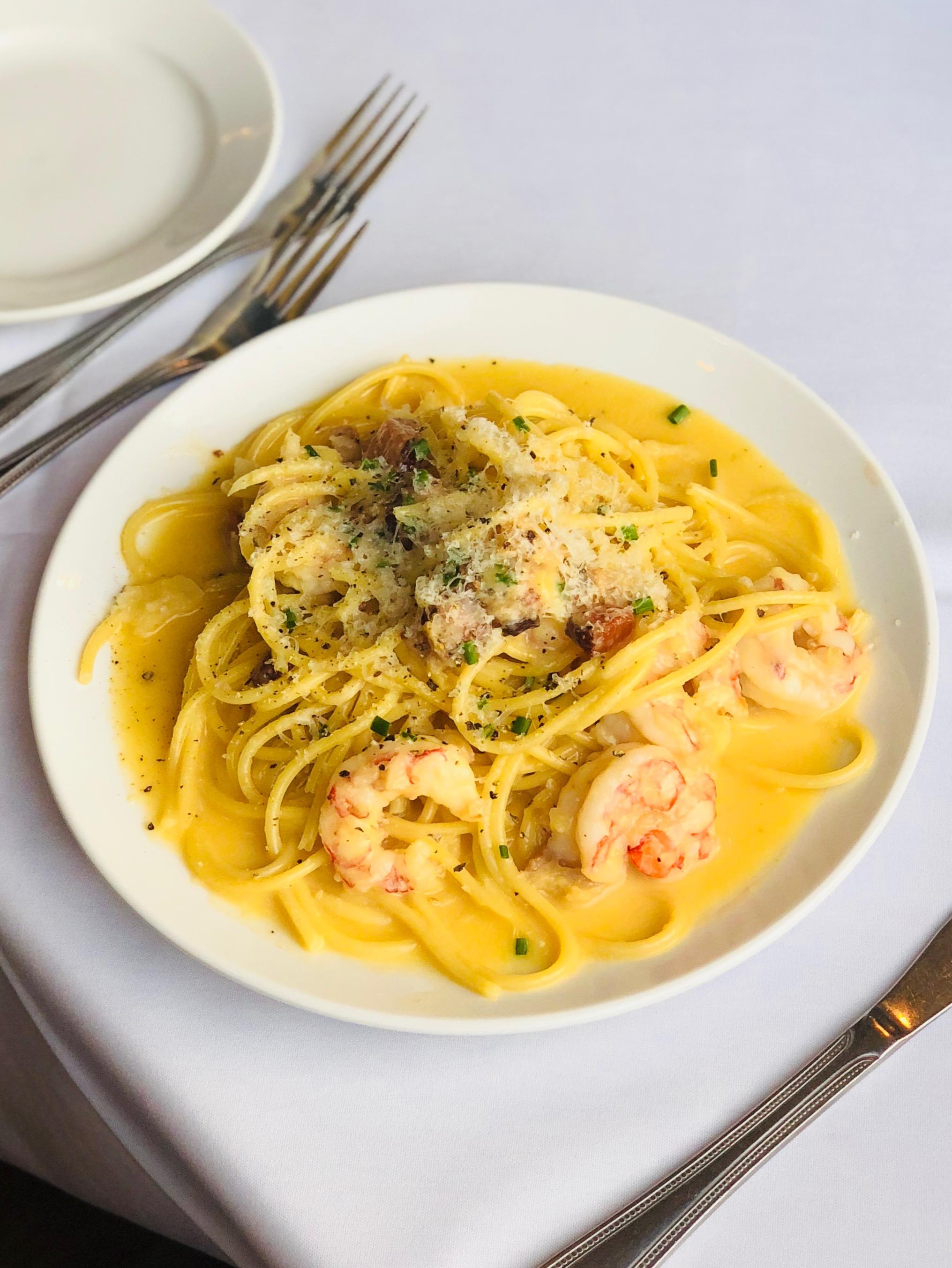 Shrimp Carbonara - Ruby Red Shrimp & Crispy Smoked Appel Belly Tossed in Creamy Pecorino Romano