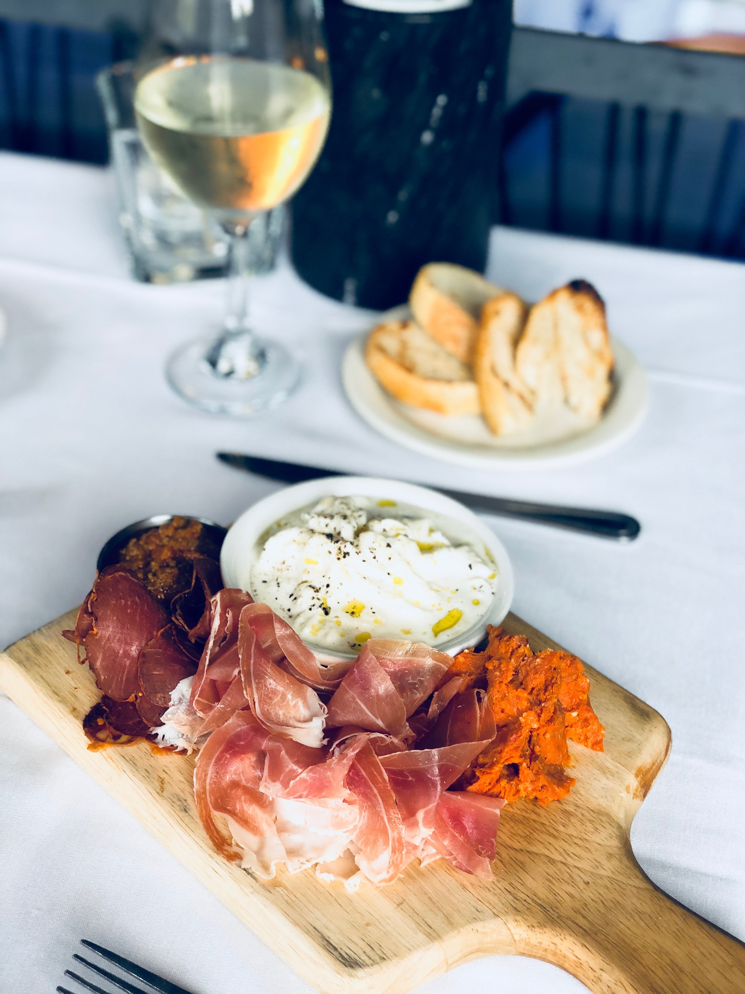 Charcuterie Board - La Quercia Prosciutto Americano, Nello's Nduja, Salumeria Biellese Hot Coppa, House-made Stracciatella Mozzarella