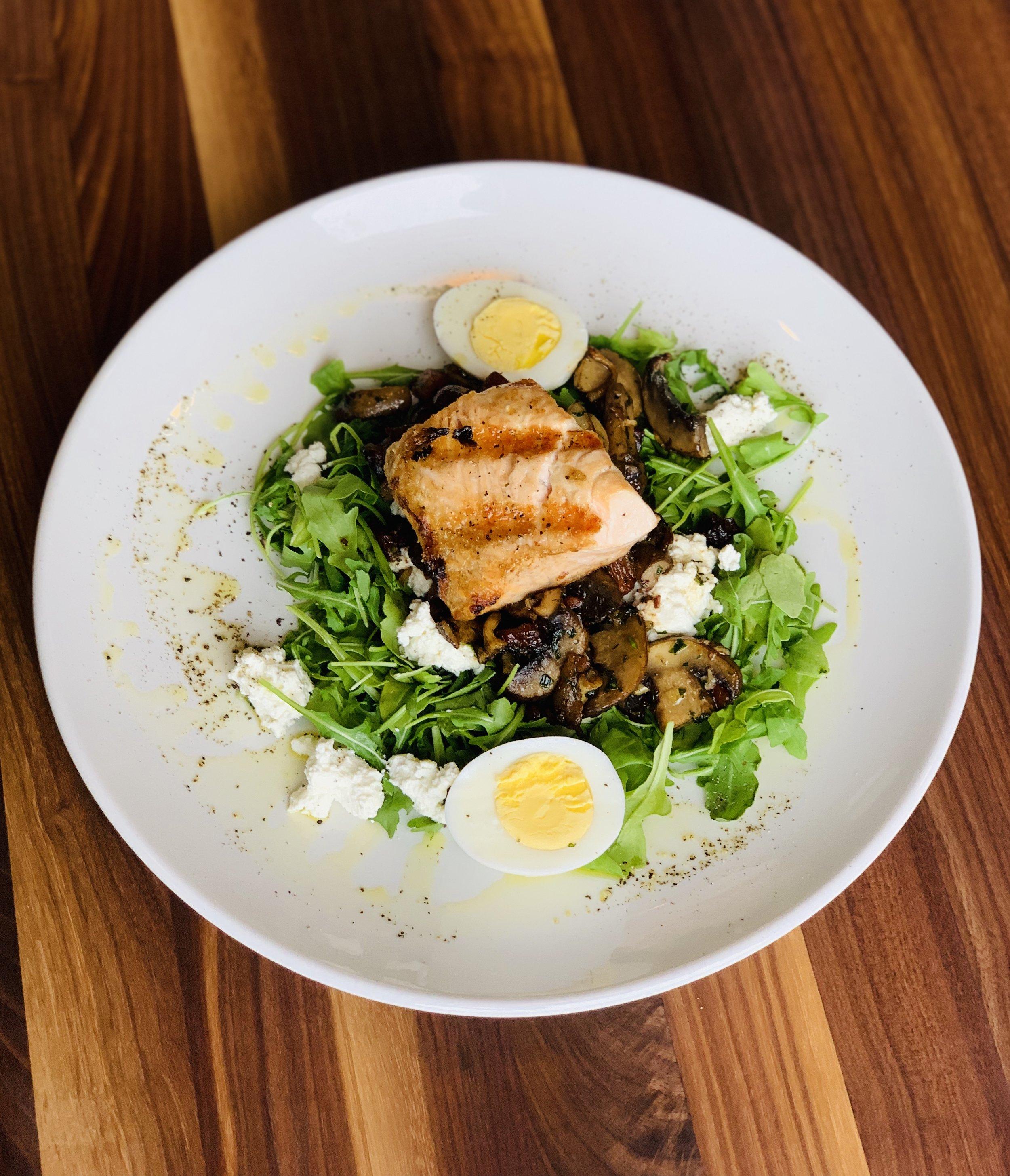 Mushroom Salad with Salmon