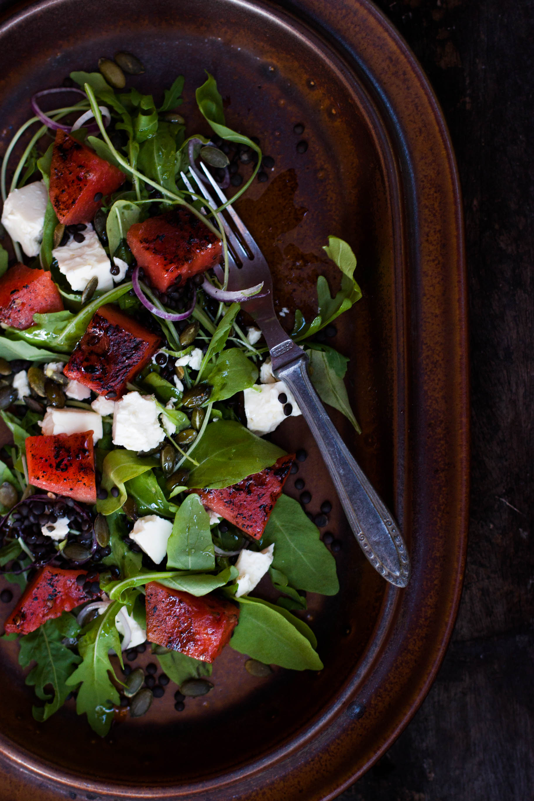 Grilled Watermelon Salad | my blue&white kitchen