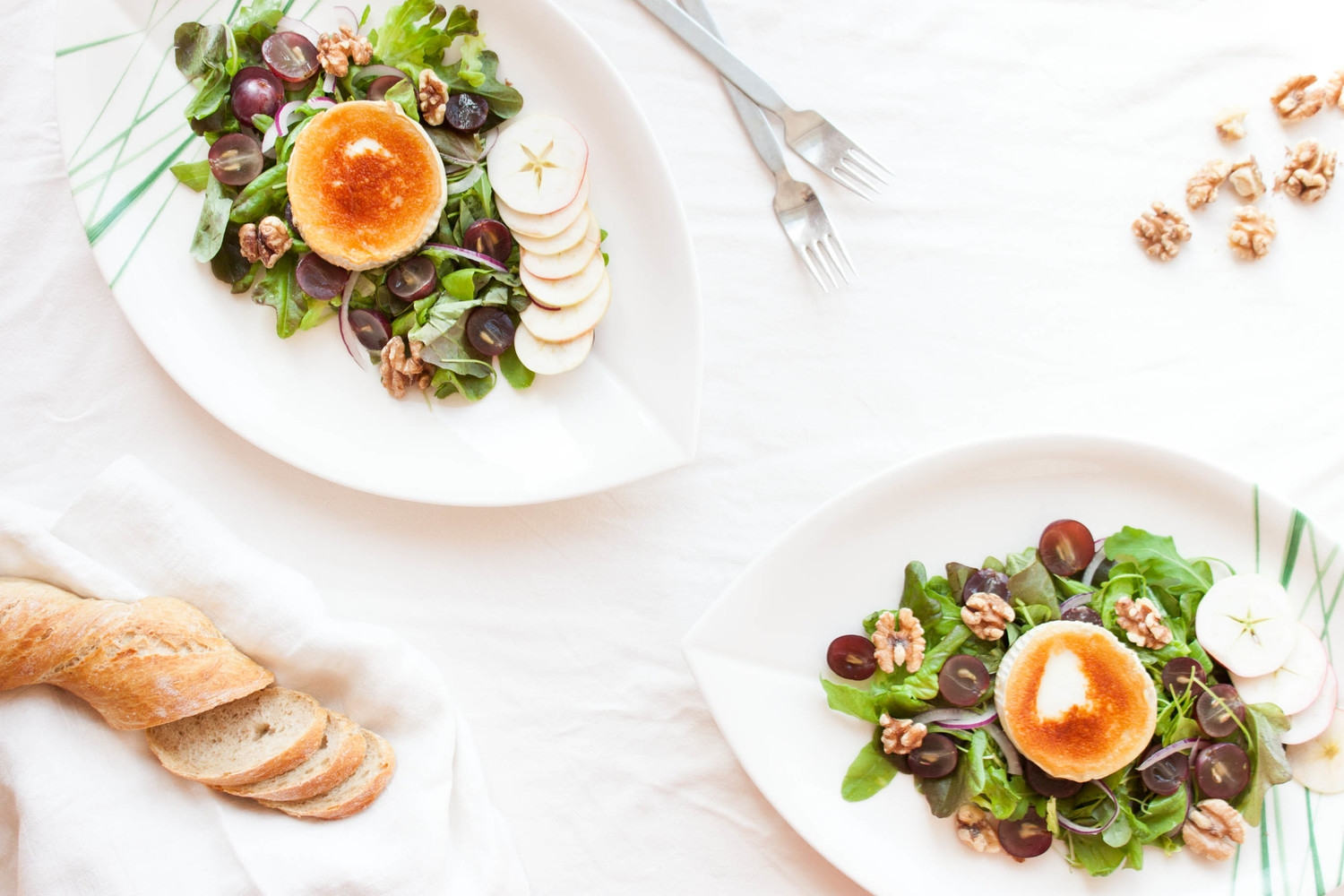 Warm Chèvre Salad with Grapes, Heirloom Apples, & Walnuts | My Blue&White Kitchen