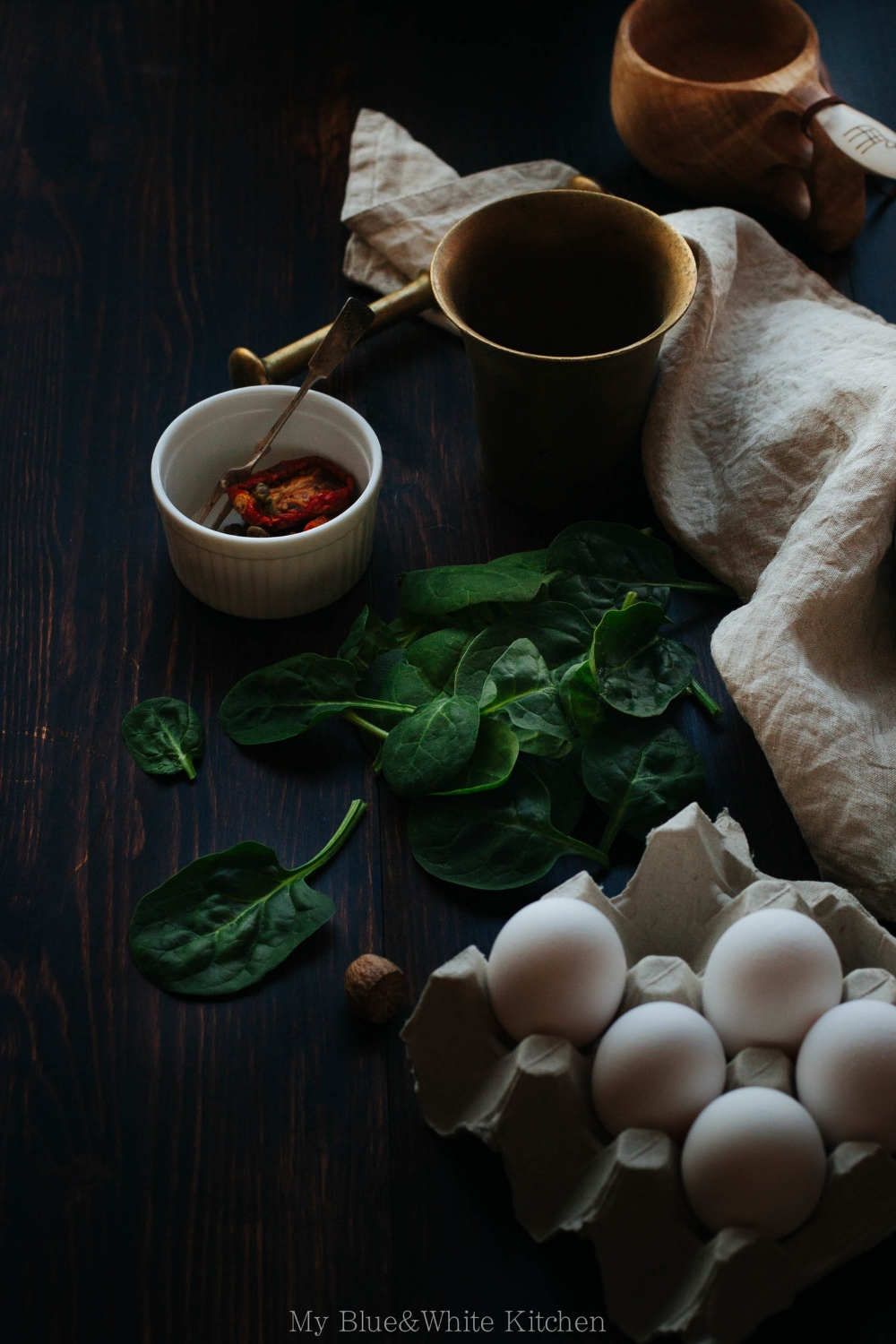 Oeufs en Cocotte with Spinach & Sun-Dried Tomatoes | My Blue&White Kitchen
