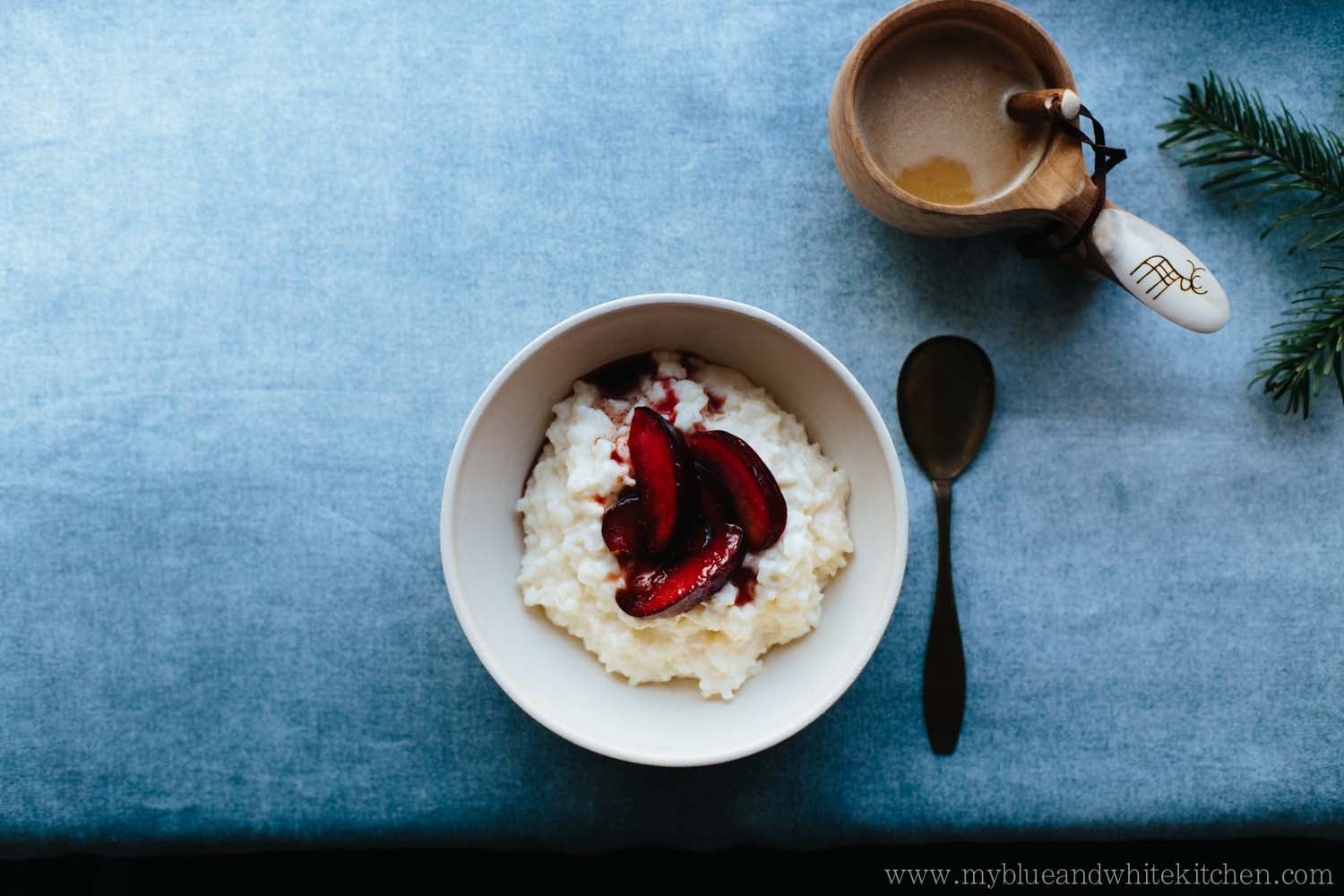 Rice Porridge with Caramelized Cinnamon Plums | My Blue&White Kitchen