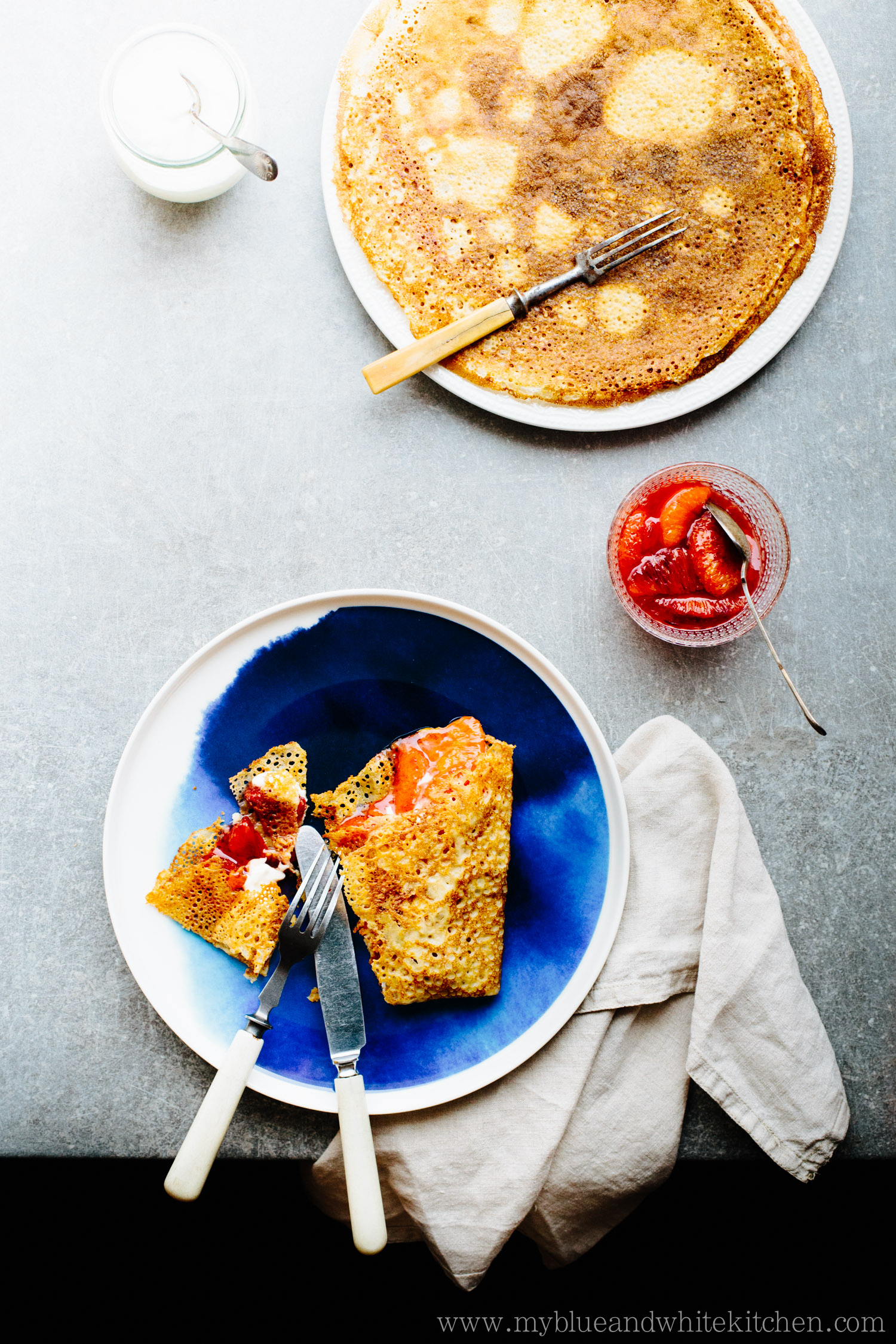 Nordic Pancakes w/ Blood Orange & Aperol Compote   My Blue&White Kitchen