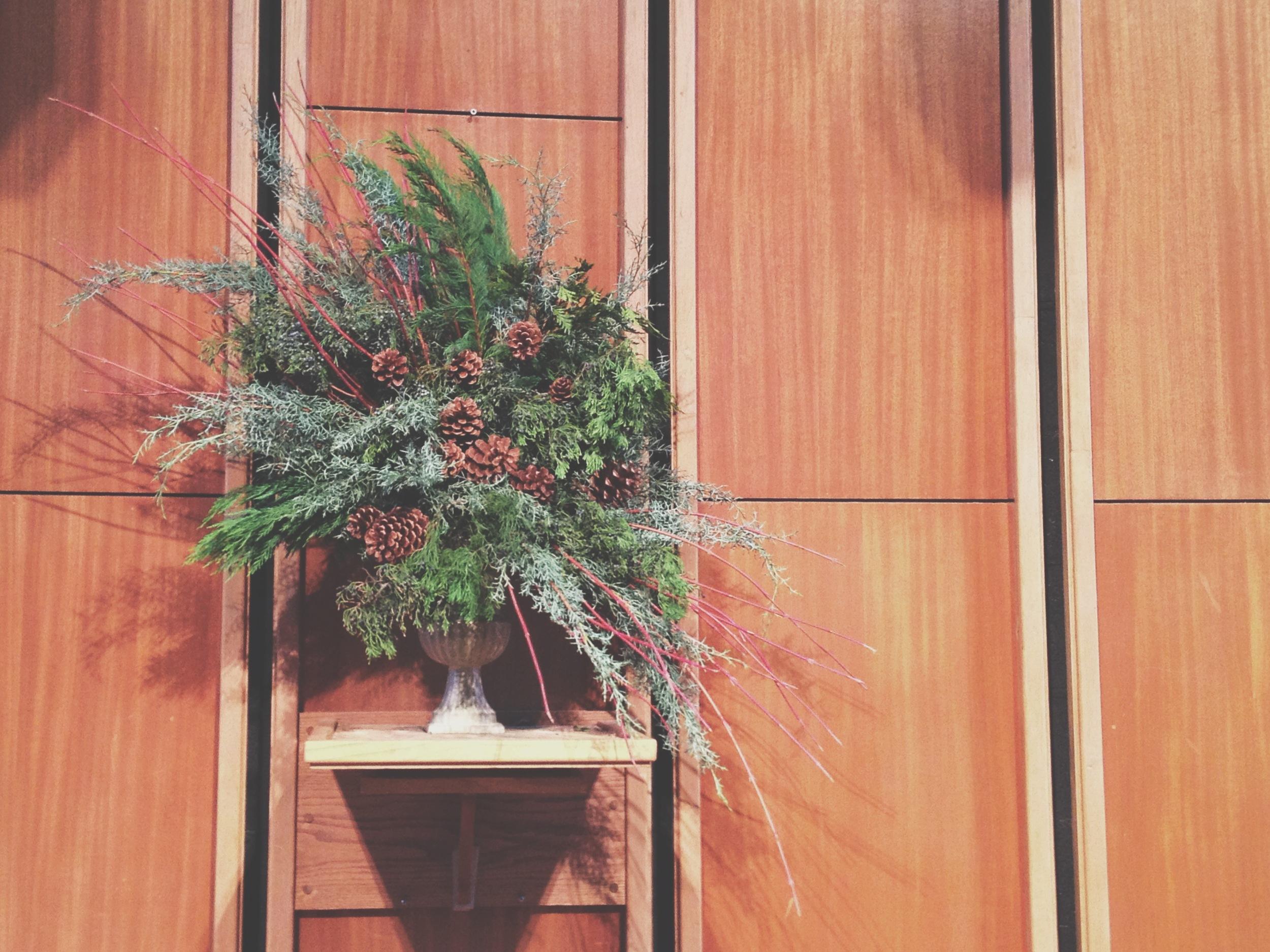 Christmas Greens and Pinecones Arrangement