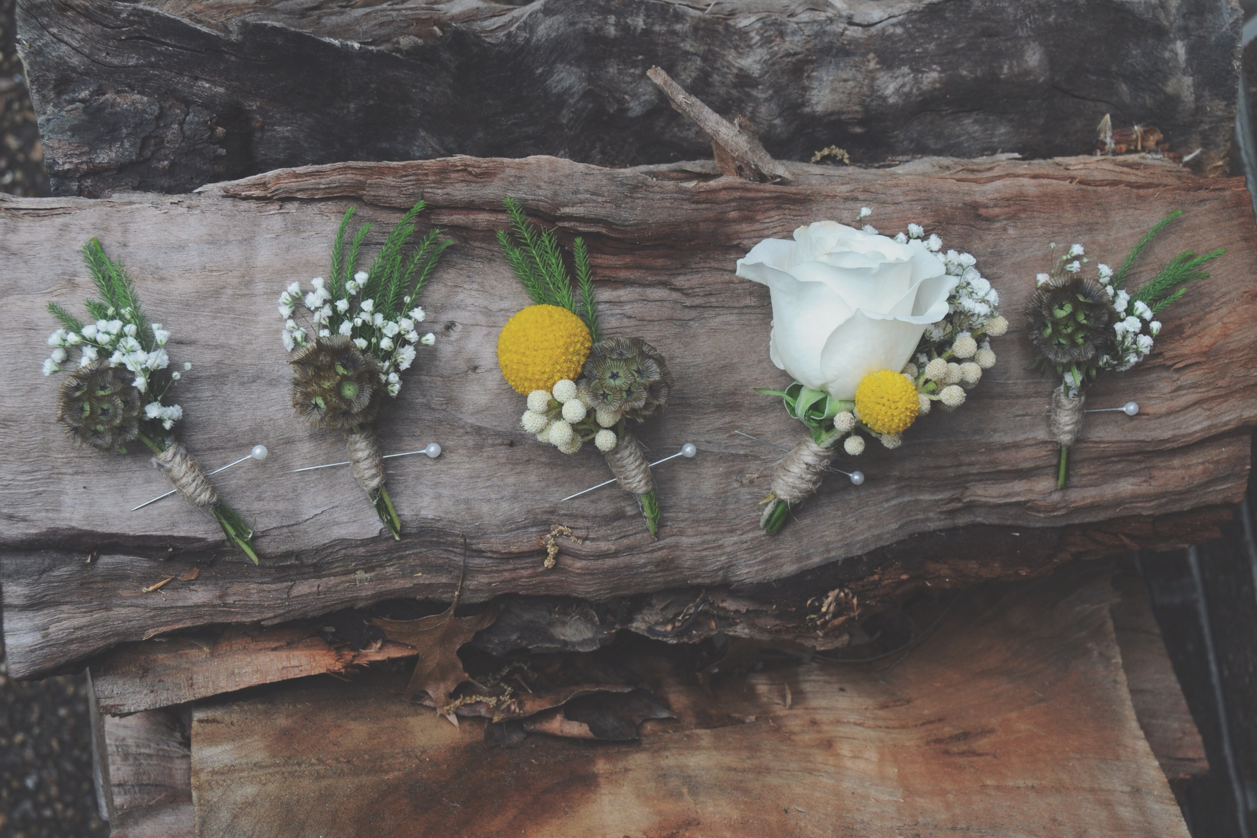 Yellow Boutonnieres and Corsages