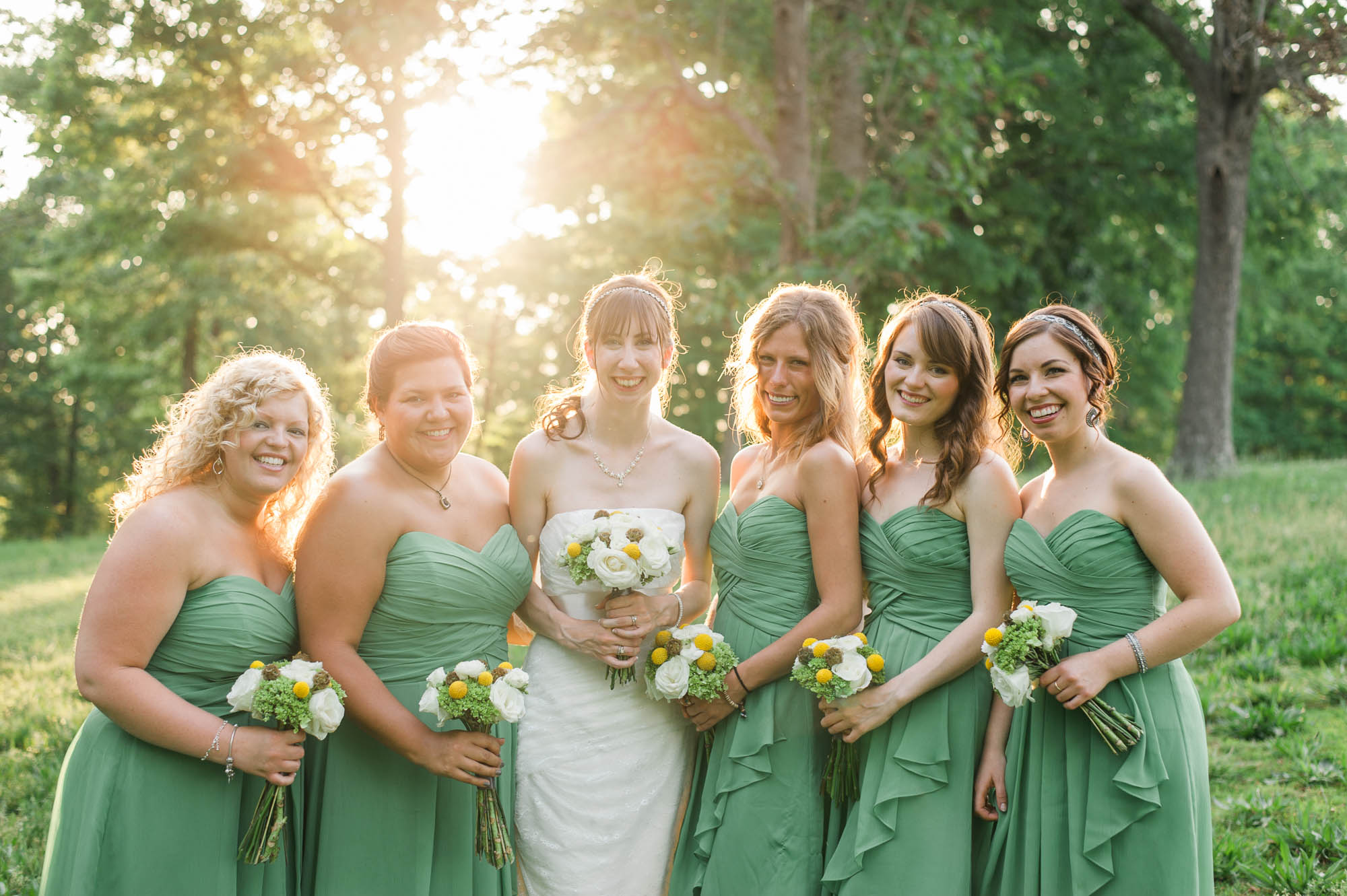 Country Wedding Bride and Bridesmaid Bouquets with Billy Balls and Scabiosa Pods