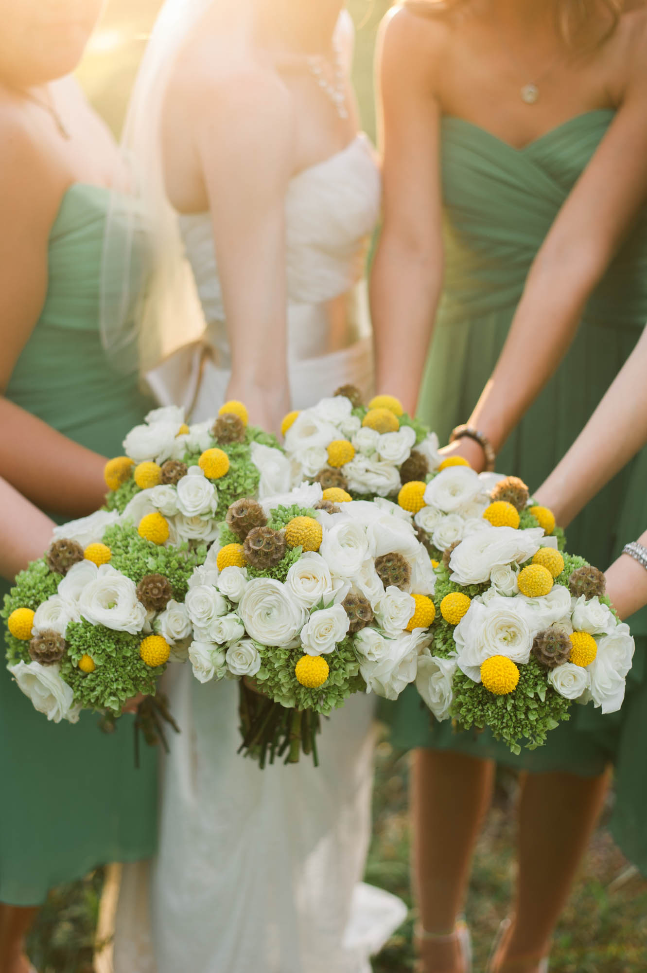 Country Wedding Bouquets with Billy Balls and Scabiosa Pods