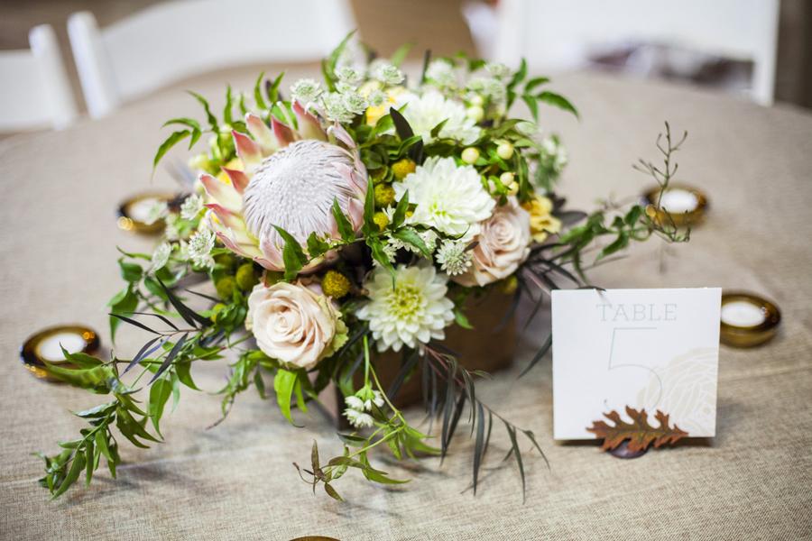 Wood box flower arrangement