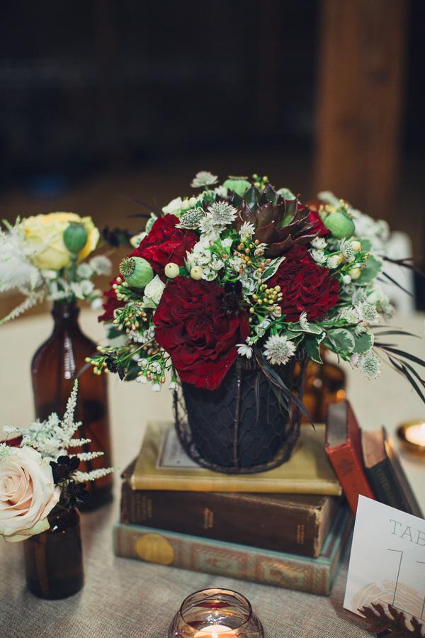 Flower centerpiece with books