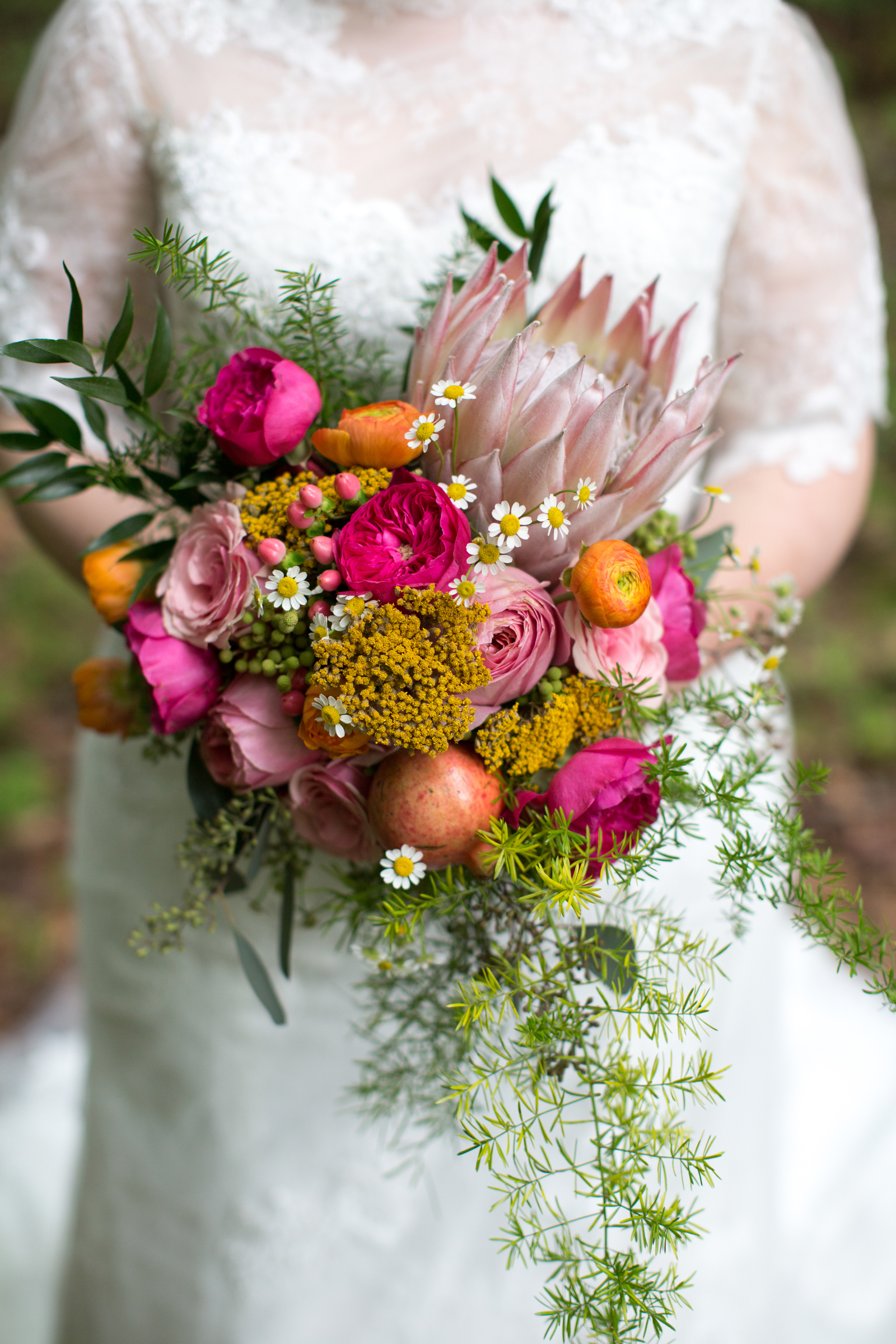 Bridal Bouquet with King Protea, Garden Roses, and Ranunculus