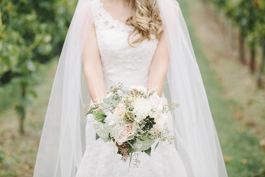 Rustic Blush and Succulent Bride's Bouquet