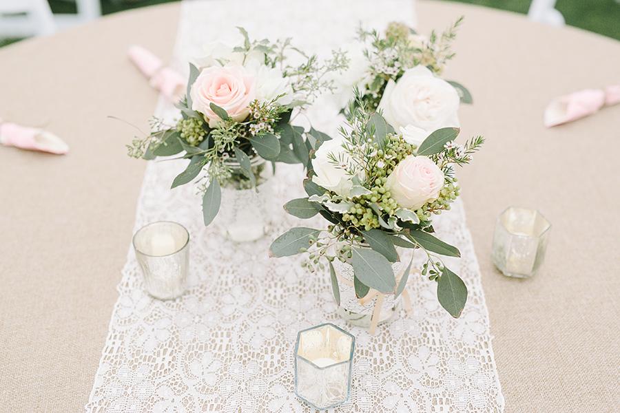 Blush and neutral flower centerpieces