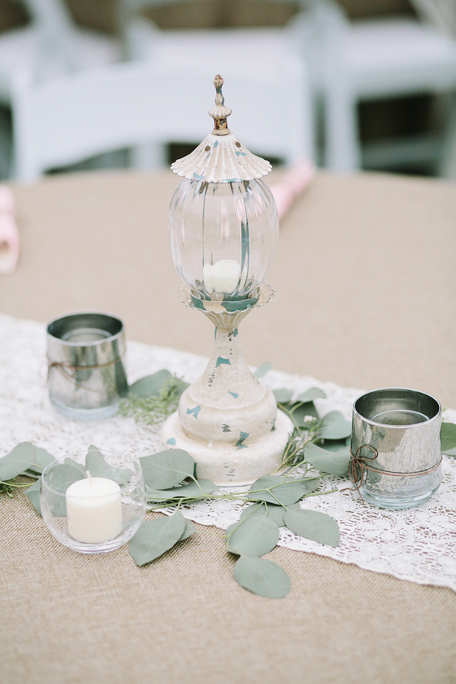 Lantern Centerpiece with Greenery