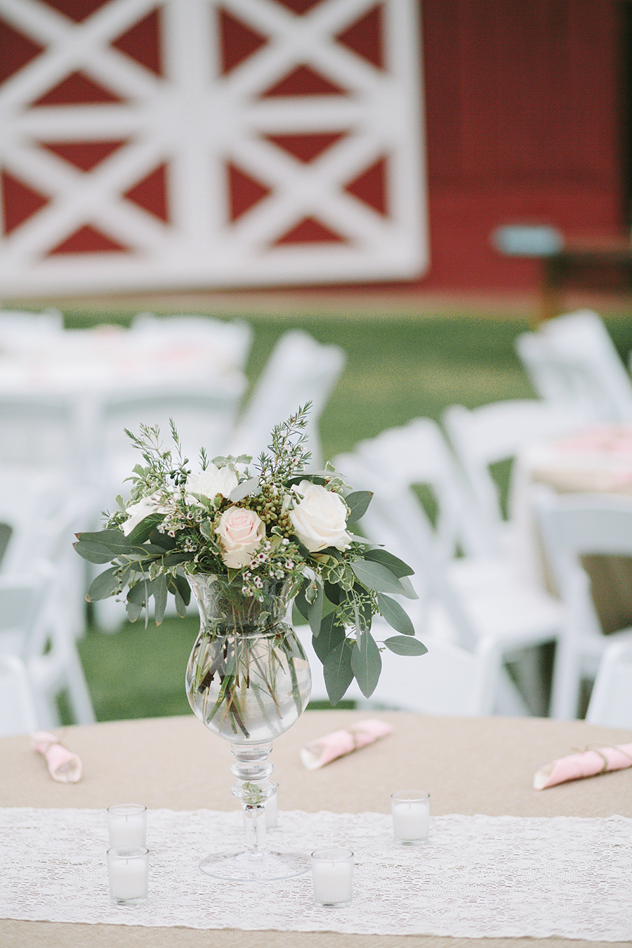 Blush and neutral flower centerpiece