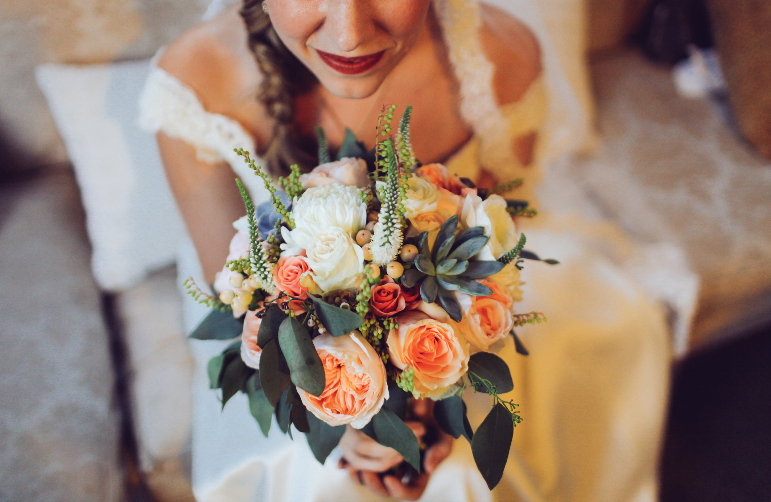 Peach and Cream Bridal Bouquet // Nashville Wedding Floral Design